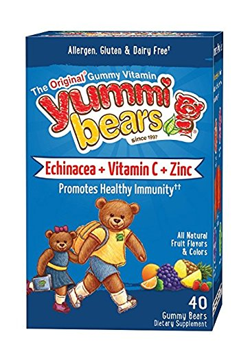 Yummi Bears Echinacea + Vitamin C & Zinc, 2Pack (40-Count Gummy Bears