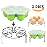 Silicone Egg Bites Molds Set,DELIWAY Baby Food Storage Trays with Lid PLUS Stainless Steel Egg Steam Rack for Instant Pot Accessories 5/6/8 qt(Green)