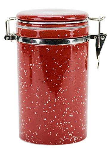 Boston Warehouse Speckleware Hinged Jar, Red - Red Hinged Lid
