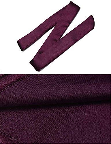 Purple Raso Stile Kimono Dark Corto Vestaglia Avidlove FBA Donna qvznE00