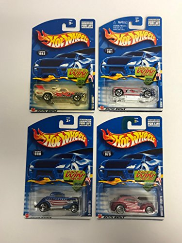 (2002 Hot Wheels Star Spangled Series Complete Set (1-4) with Deora II, Chrysler Pronto, 68 El Camino, 3-window '34)