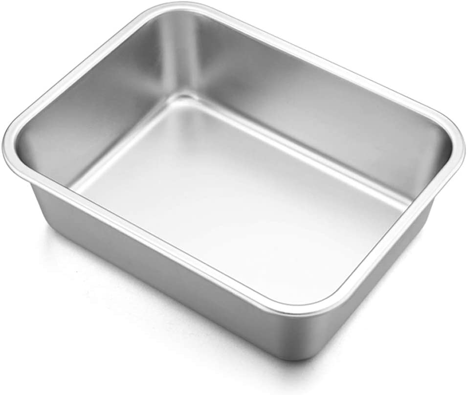 "Lasagna Deep Baking Pan - 10.7"" x 8.3"" x 3.2"",P&P CHEF Rectangular Cake Pan Cookie Bakeware Stainless Steel for Brownie/Bread/Meat, Deep Side & Round Corner, Brushed Finish & Dishwasher Safe"
