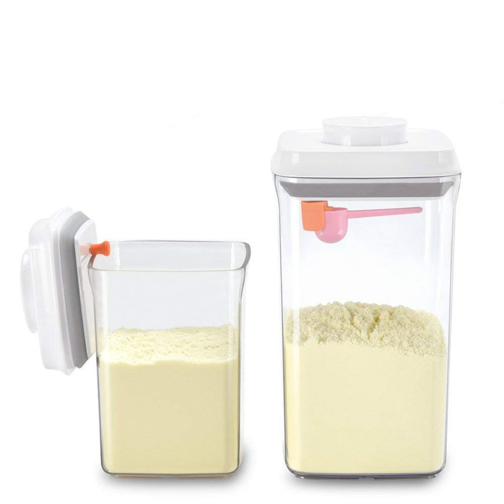 Formula Dispenser Airtight - BPA Free Milk Powder Container Portable Food Storage Containers - Formula Milk Powder Cereal Dispensers for Arthritis Hand - Pack of 2 - Square(2 L + 0.9 L) Ankou