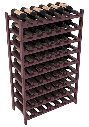 Burgundy Stain + Satin Finish Wine Racks America Pondepink Pine 54 Bottle Stackable. Unstained