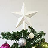 Christmas Elegance 7.8'' H Star Tree Topper With Color Glitter Christmas Tree Decoration - Glittered White
