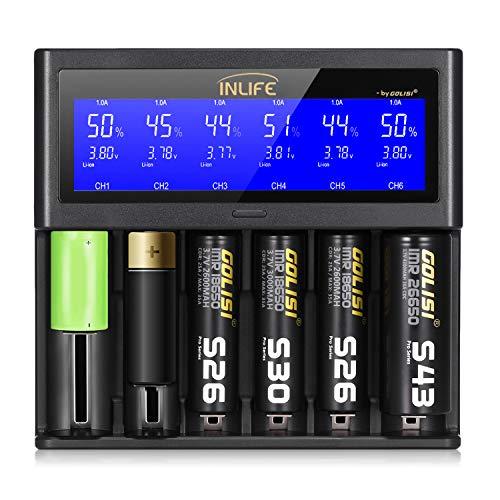 LCD Display Universal Battery Charger, INLIFE Speedy Smart Battery Charger for Rechargeable Batteries Ni-MH Ni-Cd A AA AAA AAAA C SC, Li-ion 18650 26650 26500 20700 22650 18490 17670 17500 17355 (S6)