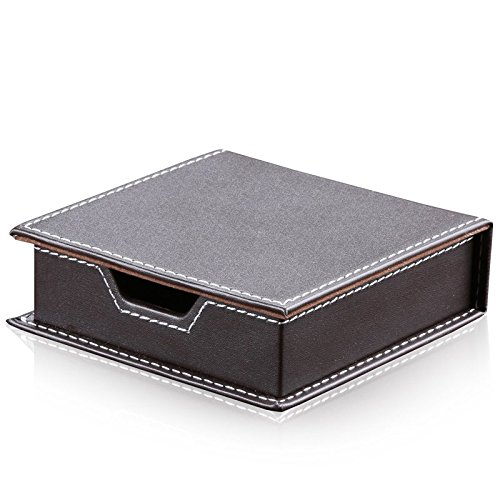 Stationery Memo Pad (Chris-Wang PU Leather Desktop Business Note Holder, Memo Note Pads Storage Box, Namecard Organizer, Desk Stationery Collection with a Lid Cover, (Brown))