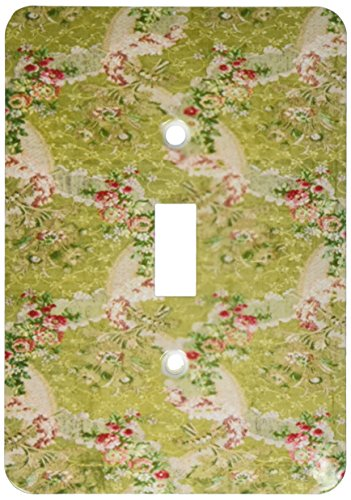 3dRose lsp_193070_1 Print of French Silk and Lace In Green and Pink Single Toggle Switch, Multicolor