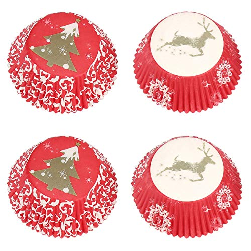 Gifbera Christmas Standard Cupcake Liners Paper Baking Cups with Merry Christmas & Christmas Tree, 100-Count