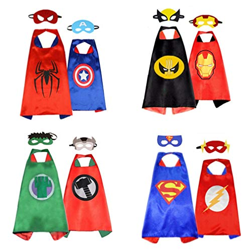 Superhero Capes for Kids, Dress up Costume Double –sided Satin Capes (4 capes, 8 masks)