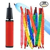 Pack of 100 Premium Rocket Party Balloons - Bundle with Air Inflator Pump – Inflates Up to 40-Inches – Great for Parties & Events – Reusable – Creates a Whistle Sound When Released into the Air