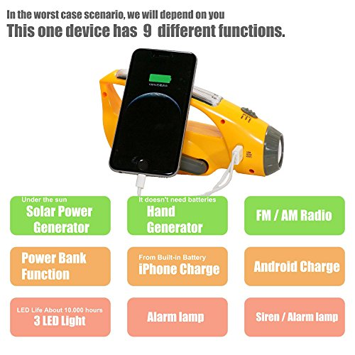 Safe-One-Solar-Hand-Crank-Power-Bank-LED-Flashlight-with-Radio-iPhone-Smart-phone-Charger