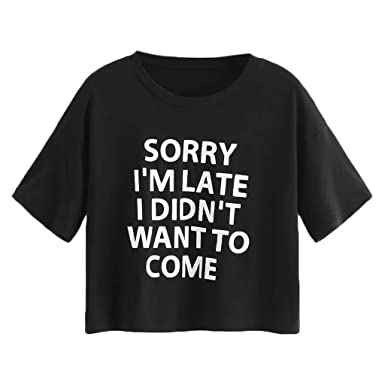 c40fc765008 Aotifu Women s Casual Tops Summer Short-Sleeved Sale Letter Printing Round  Neck T-Shirt