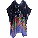 Missy Plus Indian Sequined Chiffon Cover Up Caftan Poncho Navy Blue Floral JK #15
