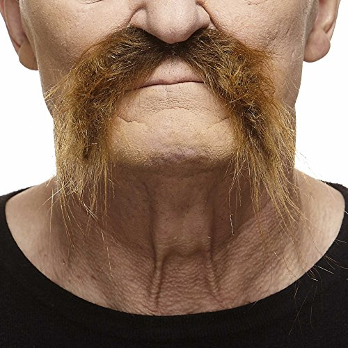 Redneck Facial Hair (Mustaches Self Adhesive Fake Mustache, Novelty, Realistic Fu Manchu False Facial Hair, Costume Accessory for Adults, Brown)
