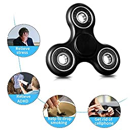 Spinner Fidget Toys MOFIR High Speed Fidget Spinner Stress Reducer Focus Toy for Autism Adult Children Perfect for ADD, ADHD, EDC , Anxiety (Black)
