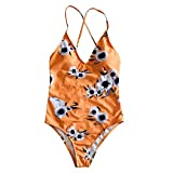 Danhjin Women's Yellow Tropical Print Deep V-Neck Floral One Piece Swimsuit S-XL