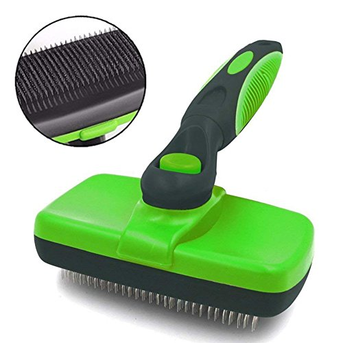 FAOUGESS Pet Brush Dog, Self Cleaning Slicker Brush Cat Grooming Reduce Shedding Loose Hair Remover Tool Professional Comb for Short Long Thick Small Large Dog & Cat Hair(Green)