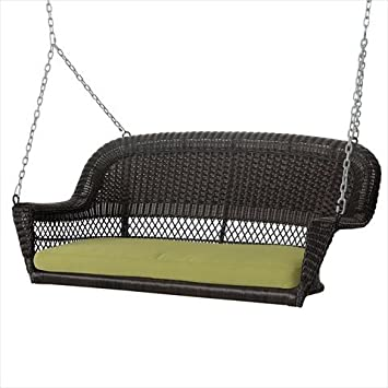 Jeco Inc. Espresso Resin Wicker Porch Swing with Green Cushion