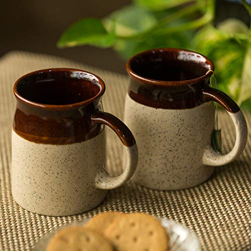ExclusiveLane Serving Tea Cups Set & Ceramic Coffee Mugs Set of 2 (320 ML, Dark Brown and Cream, Microwave & Dishwasher Safe) Price & Reviews