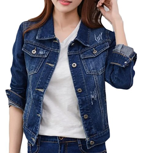 Generic Women's Fashion Long Sleeve Ripped Hole Short Wild Denim Jacket 3