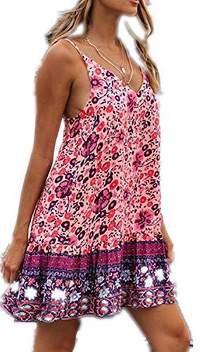 Watoriwa Women's Summer Floral Printed Spaghetti Strap deep V-Neck Ruffle A line Swing Beach Short Dress(L,Purple)