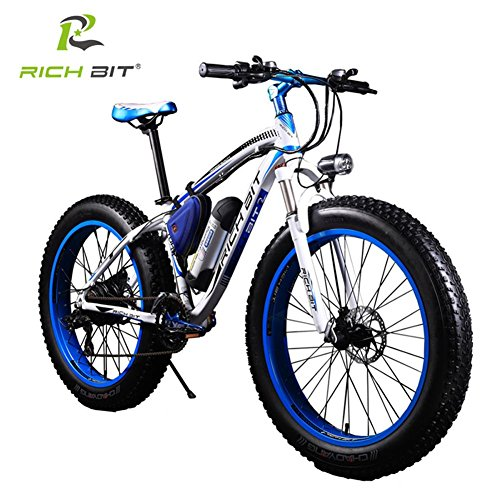 RICH BIT TP012 Electric Fat Bike Mountain Bicycle Snow Bike Cruiser Ebike 350W Motor 36V Lithium Battery Dual Brakes with Shimano 21 Speeds System 26''4.0 inch Fat Tire Suspension Fork (26' Cruiser Bicycle Tire)
