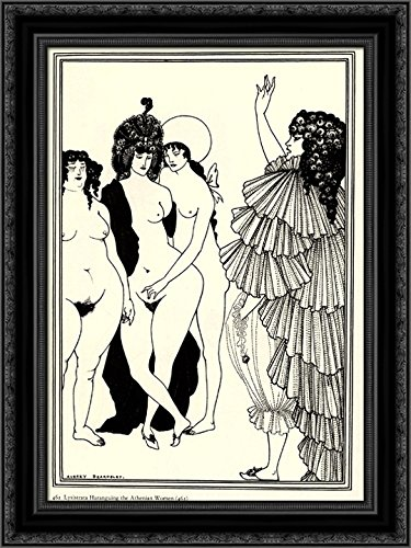 Lysistrata Haranguing the Athenian Women 20x24 Black Ornate Wood Framed Canvas Art by Beardsley, Aubrey