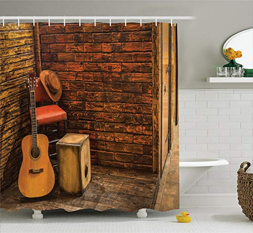 Ambesonne Music Decor Shower Curtain Set, Music Instruments...