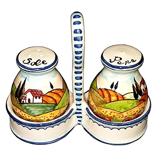 CERAMICHE D'ARTE PARRINI - Italian Ceramic Set Salt and Pepper Shakers Pots Art Pottery Hand Painted Decorated Poppies Landscape Made in ITALY Tuscan (Pottery Shakers)