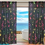 SEULIFE Window Sheer Curtain Colorful Music Notes Voile Curtain Drapes for Door Kitchen Living Room Bedroom 55x84 inches 2 Panels