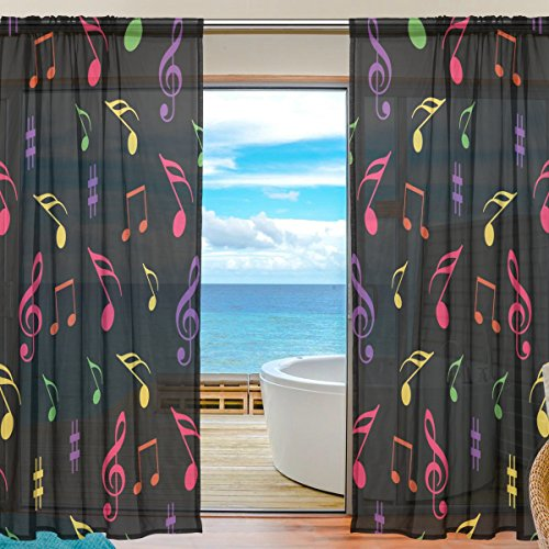 SEULIFE Window Sheer Curtain Colorful Music Notes Voile Curtain Drapes for Door Kitchen Living Room Bedroom 55x84 inches 2 Panels by SEULIFE