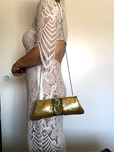 chain evening Metal shoulder handbags clutch Prom Vintage strap Party Gold Mesh purses with for Womens Wedding qzBtAwn