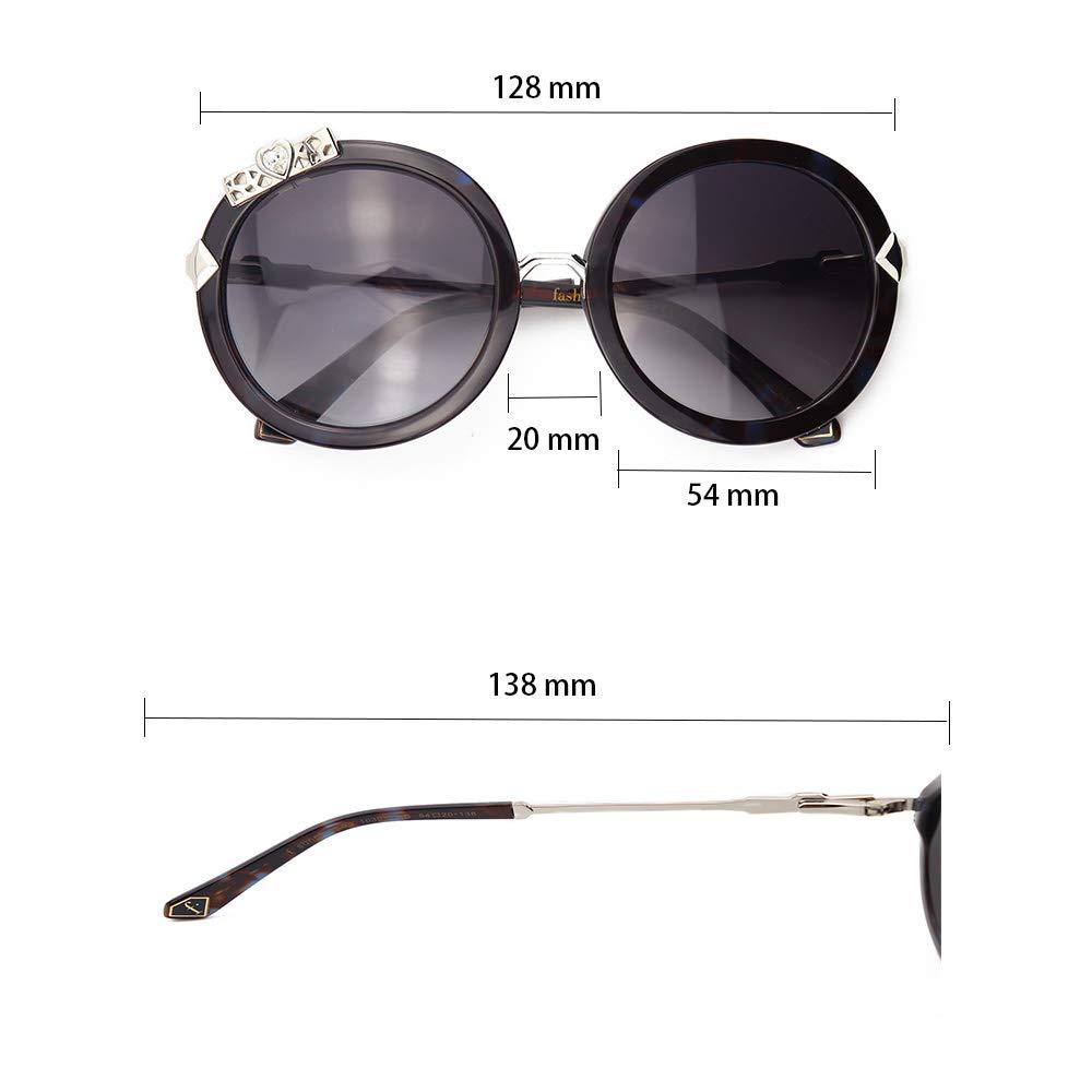 Eyeplayer Retro Round Metal Sunglasses for Women Black Circle with Rhinstone Decorative,54MM