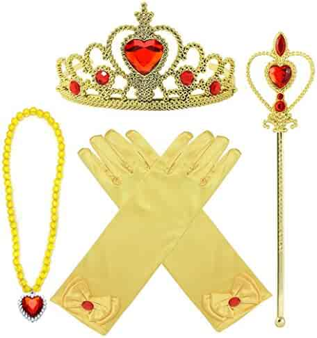 Princess Belle Dress up Accessories 4 Gifts Set Gold Gloves Tiara Crown Necklace Wand
