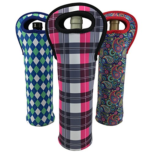 Wine Sleeve Tote Bag (3-pack Paisly, Argyle, Plaid) Insulated Neoprene Bottle Carrier by Bever Products (Neoprene Bag Wine)
