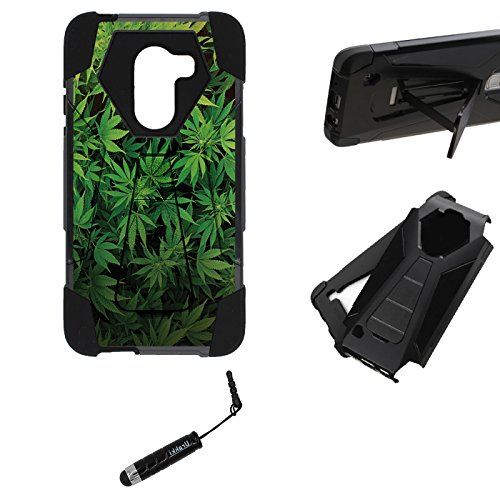 Alcatel Walters Kickstand Case, Hybrid 2 Layer Rugged Armor Kickstand Hard Case by URAKKI - Alcatel Fierce (2017) , A30 PLUS , Revvl 5049W , Alcatel Walters [Weed Marijuana Camouflage] Case