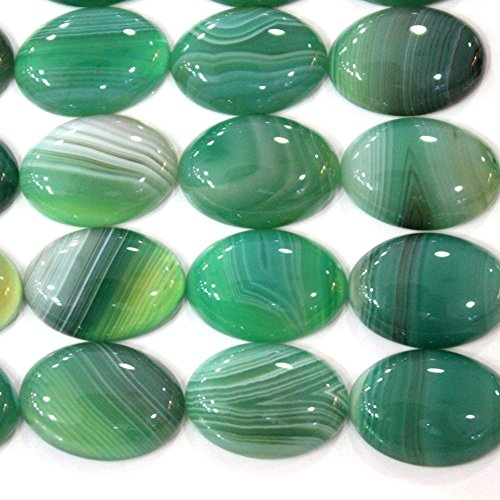 4pcs Oval 18*25mm Natural Gemstone Cabochons for Jewelry Making Beads Cabs (green agate)