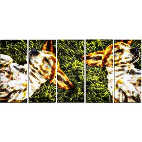 Designart Baby Beagles-Dog Metal Wall Art-MT2455-60x28-5 Panels -  MT2455-401
