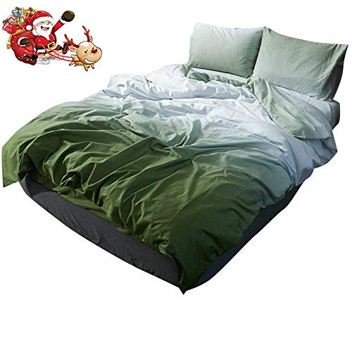 (Gradient Green Cotton Duvet Cover Set Queen Hotel Quality Luxury Bedding Set Lightweight Soft Washed Cotton Duvet Comforter Cover Set 3 Piece Boys Girls Bedding Collection Full Queen)