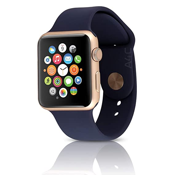 official photos 4e44d c0e58 Apple Watch Series 2 42mm - Gold Aluminum Case, Midnight Blue Sport Band  (Renewed)