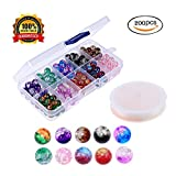 #9: Beads For Jewelry Making Beads For Kids Crackle Glass Beads For Jewerly Making With Elastic Cord .Assortment With Plastic Box 8mm Beads 200Pcs (8mm)