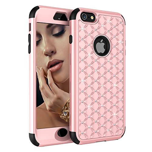 iPhone 6S Case, iPhone 6 Case, Dooge Diamond Studded Bling Rhinestone Shockproof Hybrid Armor Defender Full-body Rugged High Impact Protective Cover for Apple iPhone 6S/6 - RoseGold/Black