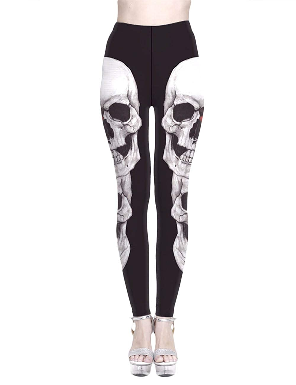 SOMTHRON Women's Skeleton Skull Leggings Trousers Skinny Skull Yoga Pants Plus Size
