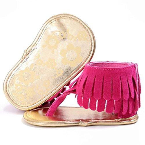 Sandalias para bebés, RETUROM Bebé la borla suave suela antideslizante sandalias zapatillas rosa caliente