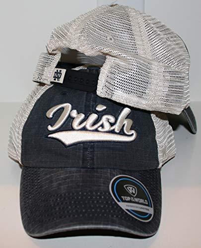 University of Notre Dame ND Fighting Irish Navy Blue Trucker Raggs Script Irish Top Adult Mens/Womens/Youth Baseball Adjustable -