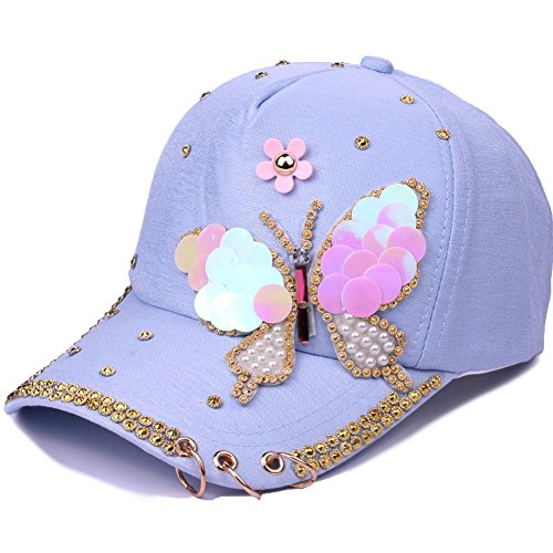 Butterfly Visor - OBERORA Baseball Caps, Sequined Cotton Leisure Eyelet Visor Hat, Unisex Casual Caps (Butterfly Blue)