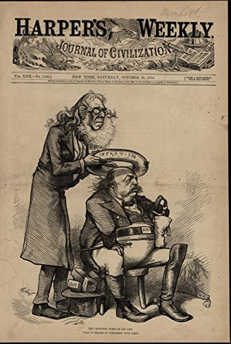 Fat Man Crowned with Inner Tube of Inflation 1878 great old print for (Mens Crowned)