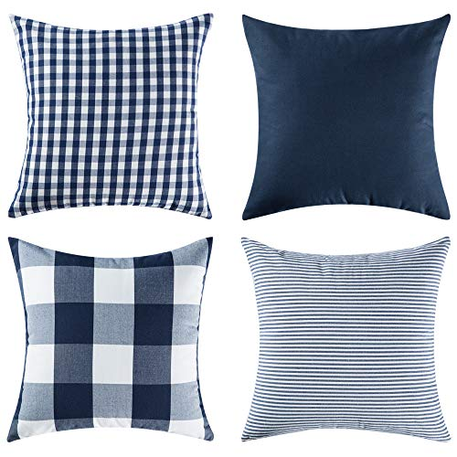 MIULEE Pack of 4 Decorative Throw Pillow Covers Cotton Stripe Checker Plaids Pattern Classic Retro Pillow Case Vintage Navy Blue Square Cushion Cover Farmhouse Decor for Sofa Bedroom Car 20 x 20 Inch