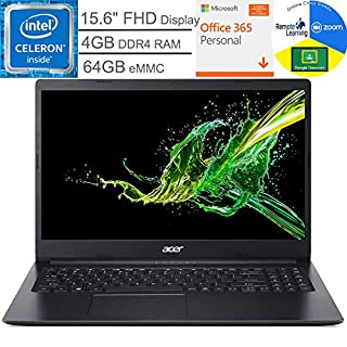 "Acer Aspire 1 15.6"" FHD Laptop Computer, Intel Celeron N4020 up to 2.8GHz, 4GB DDR4 RAM, 64GB eMMC, 802.11AC WiFi, Webcam, Microsoft 365 Personal, Windows 10 S, BROAGE Mouse Pad, Online Class Ready"
